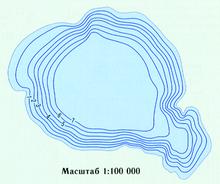 Подводный рельеф Асликуля (шкала в метрах)
