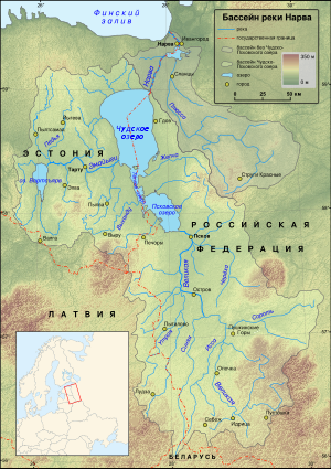 Чудское озеро на карте бассейна реки Нарва
