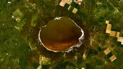 Вид на озеро Эльтон из космоса