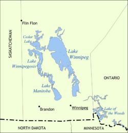 Карта озёр Виннипег, Виннипегосис, Манитоба и Сидар
