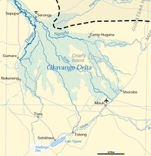 Карта дельты Окаванго (озеро Нгами можно увидеть внизу)