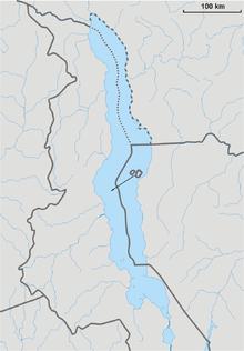 Официальные границы Малави в настоящее время (прерывистая линия) и претензии Танзании (пунктирная линия)