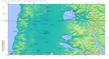 Озеро Ранко (наиболее крупное) в верхней части карты