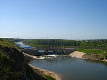 Петропавловский гидроузел на реке Ишим вблизи города Петропавловска