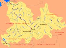Схема бассейна Северной Двины
