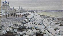 Бекряшев Н. Г. «Ледоход в Великом Устюге на реке Сухона» (1923)