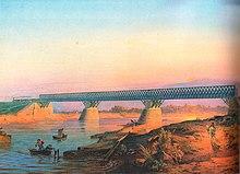 Мост Петербурго-Московской железной дороги через Тверцу. Петцольд. Середина XIX века